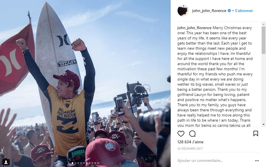 John Florence champion du monde de surf